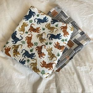 West Elm Pottery Barn Mid Century swaddle blankets